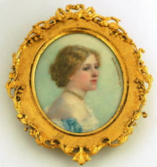 Antique Portrait Miniature Painting 1901  of an Edwardian lady by Amy G Chamberlaine
